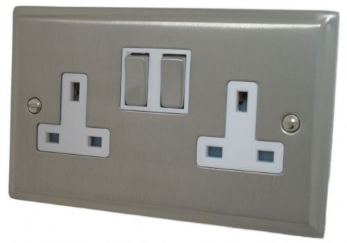 G&H DSN210 Deco Plate Satin Nickel 2 Gang Double 13A Switched Plug Socket